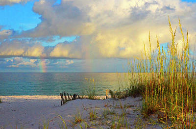 Pensacola Rainbow At Sunset Poster by Marie Hicks