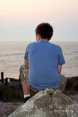 Pensive Beach Teen Boy 3 Poster