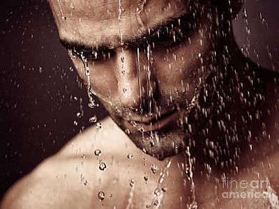 Pensive Man Face Under Showering Water Poster