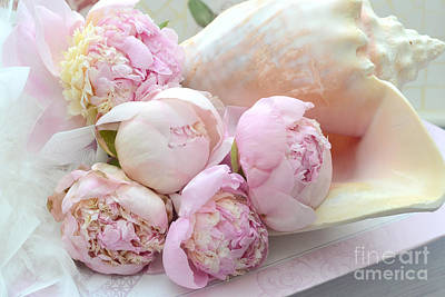 Shabby Chic Pink Peonies  - Dreamy Pink Yellow Peonies In Beach Shell - Dreamy Peony Decor Poster