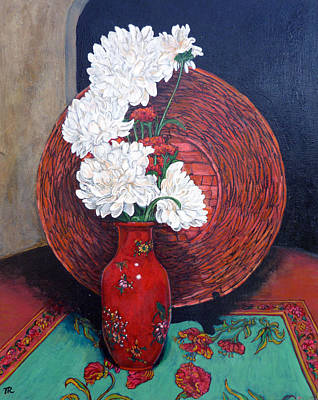 Poster featuring the painting Peonies For Nana by Tom Roderick