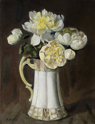 Peonies In Fluted Japanese Coffeepot Poster