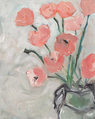 Peonies In Pink Poster by Chelle Fazal