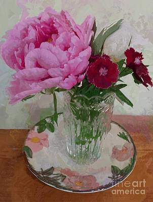 Poster featuring the digital art Peonies With Sweet Williams by Alexis Rotella
