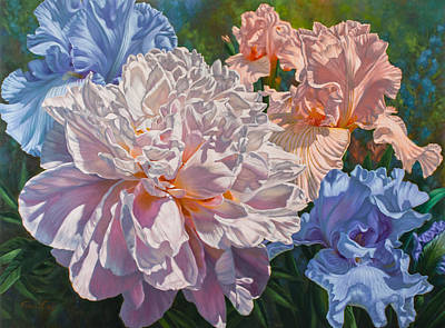 Peony And Irises Poster by Fiona Craig
