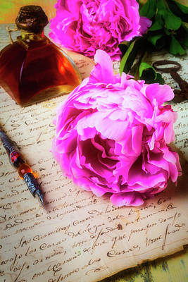 Peony On Old Letter Poster