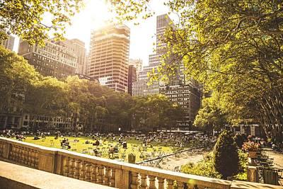 People Chilling In Bryant Park New York Poster by Leonardo Patrizi