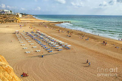 People On The Beach Of Albufeira In Portugal Poster