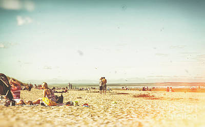 People On The Beach Poster by Patricia Hofmeester