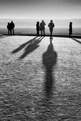 People Standing Looking In Winter With Their Shadows Poster by John Williams