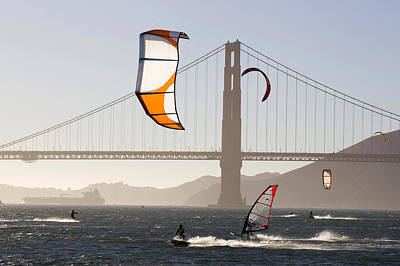 People Wind Surfing And Kitebording Poster by Skip Brown