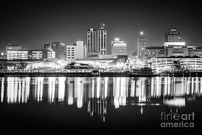 Peoria Illinois At Night Black And White Photo Poster by Paul Velgos