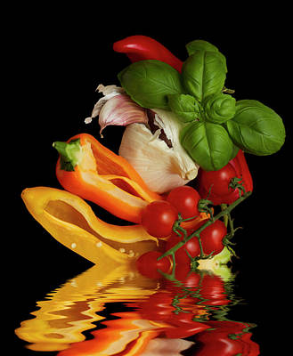 Poster featuring the photograph Peppers Basil Tomatoes Garlic by David French