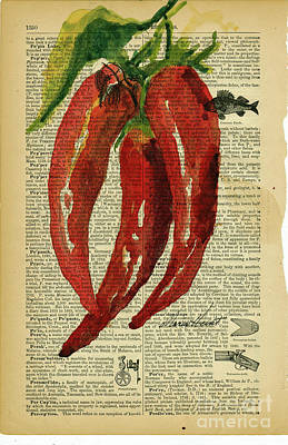 Peppers From The Garden Poster by Maria Hunt