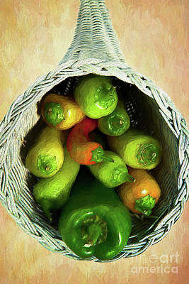 Poster featuring the painting Peppers In A Horn Of Plenty Basket Ap by Dan Carmichael