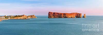 Perce Rock Panorama At Sunset Poster