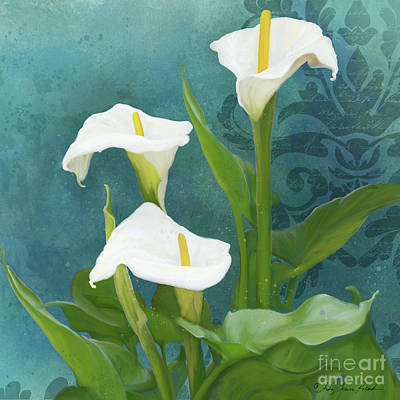 Poster featuring the painting Perfection - Calla Lily Trio by Audrey Jeanne Roberts