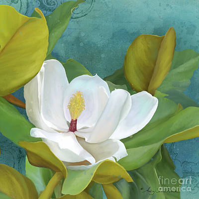 Poster featuring the painting Perfection - Magnolia Blossom Floral by Audrey Jeanne Roberts
