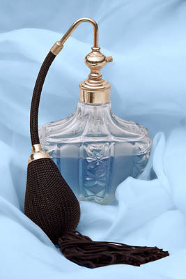 Perfume Bottle Still Life I In Blue Poster by Tom Mc Nemar