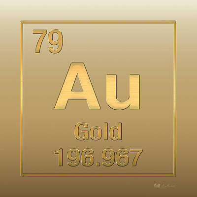 Periodic Table Of Elements - Gold - Au - Gold On Gold Poster by Serge Averbukh