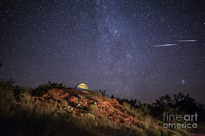 Perseids Over Caprock Canyons Poster by Melany Sarafis