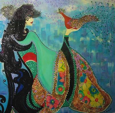 Persian Women With The Bird Poster by Sima Amid Wewetzer