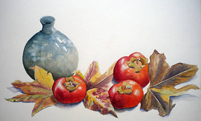 Persimmon Trio Poster by Sandy Fisher