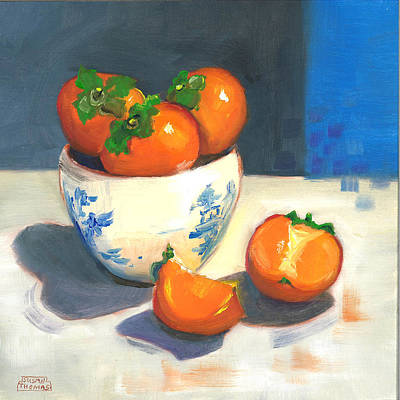Poster featuring the painting Persimmons by Susan Thomas