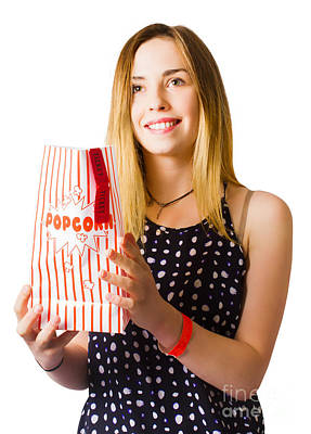 Person At Movie Cinema With Popcorn Bag Poster