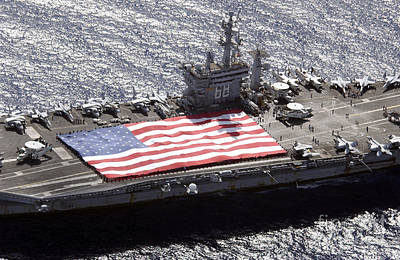 Personnel Participate In A Flag Poster