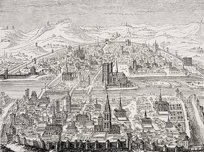 Perspective View Of Paris In 1607 Poster