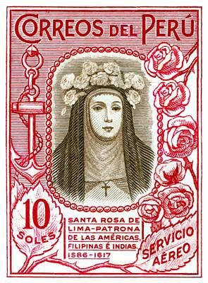 Peru 1937 Santa Rosa De Lima Postage Stamp Poster
