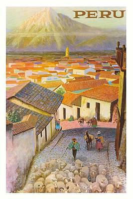 Peru El Misti Volcano Vintage Travel Poster Poster
