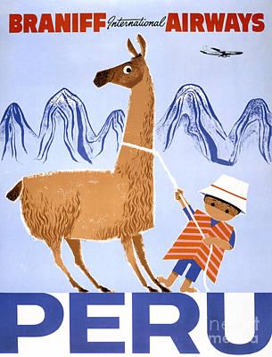 Peru Vintage Travel Poster Restored Poster