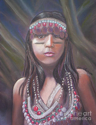 Poster featuring the pastel Peruvian Girl by Julie Brugh Riffey