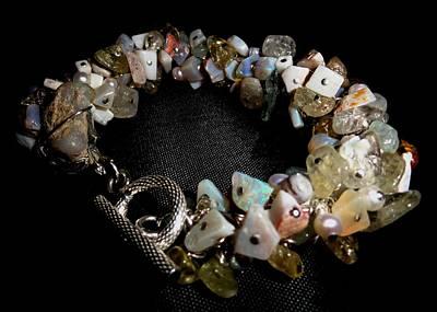 peruvian opal nugget, aquamarine, cultured pearl Bracelet Poster by Karen Matthews