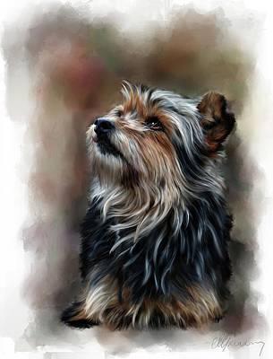 Pet Dog Portrait Poster by Michael Greenaway