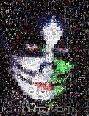 Peter Criss Kiss Mosaic Poster by Paul Van Scott