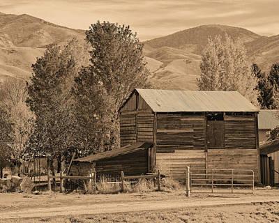 Peterson Barn In Autumn Sepia Poster