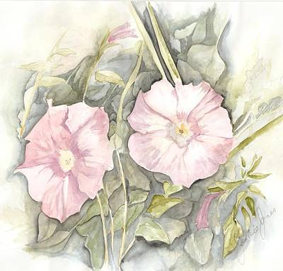 Poster featuring the painting Petunias by Jackie Mueller-Jones