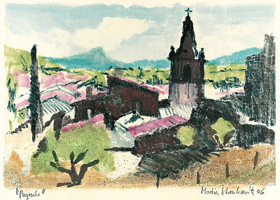 Poster featuring the painting Peyruis Village In Provence by Martin Stankewitz