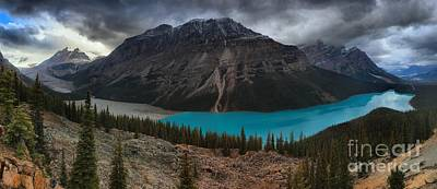 Peyto Lake Storm Clouds Poster by Adam Jewell