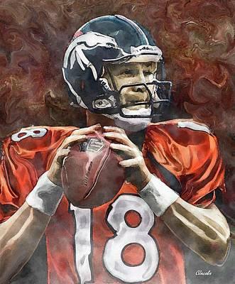 Peyton - Broncos Poster by Carole Jacobs
