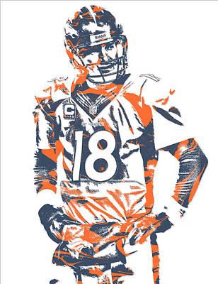 Peyton Manning Denver Broncos Pixel Art 8 Poster