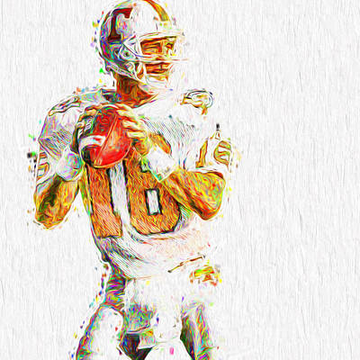 Peyton Manning Nfl Football Painting Tv Poster by David Haskett