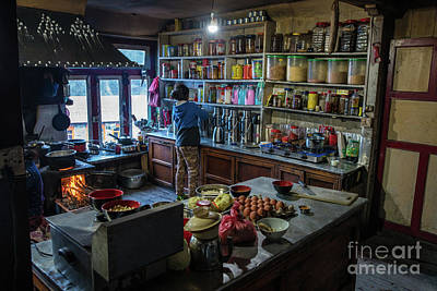 Poster featuring the photograph Phakding Teahouse Kitchen Morning by Mike Reid