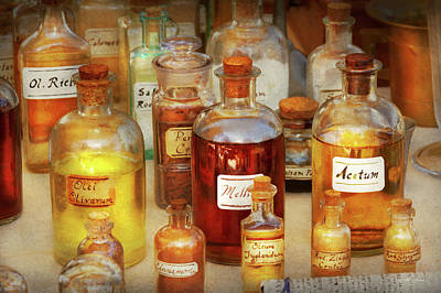 Poster featuring the photograph Pharmacy - Serums And Elixirs by Mike Savad