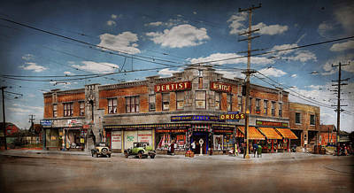 Poster featuring the photograph Pharmacy - The Corner Drugstore 1910 by Mike Savad