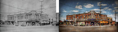 Poster featuring the photograph Pharmacy - The Corner Drugstore 1910 - Side By Side by Mike Savad
