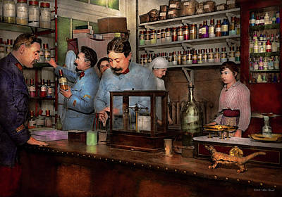 Poster featuring the photograph Pharmacy - The Dispensing Chemist 1918 by Mike Savad